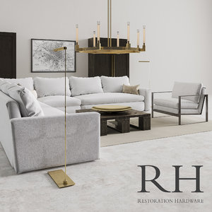 restoration hardware set corner sofa 3D model