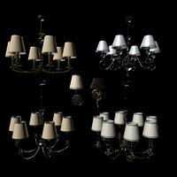 3D 4 chandeliers