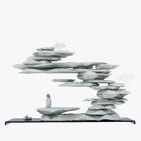 3D monk balancing stones