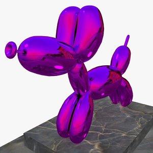 3D shinny dog sculpture model