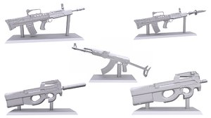 3D weapon statuettes