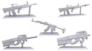 3D weapon statuettes