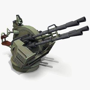 ready zpu-4 anti-aircraft gun model