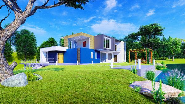 lake house exterior 3D model
