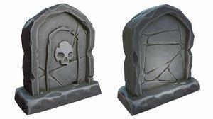 3D model cartoon stone