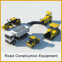 3D road construction equipment set