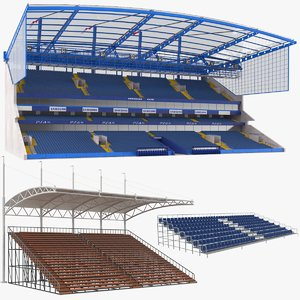 3D model bleachers modeled