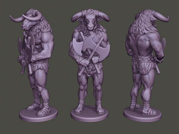 minotaur warrior guard axes 3D model
