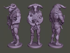 minotaur warrior guard axes 3D model