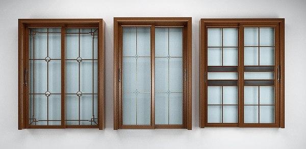 brown window frames 3D