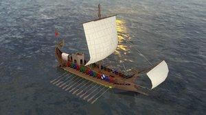 roman warship 31 b 3D model