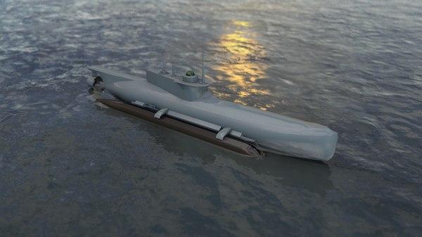seehund german midget submarine 3D model