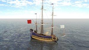 3D model french ship soleil royal