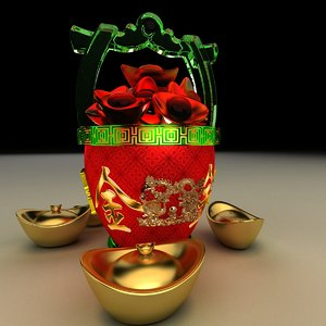 3D model chinese gold ingot bucket