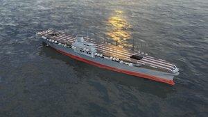 3D shinano japanese aircraft carrier
