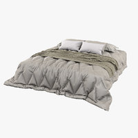 photorealistic tufted bed cover 3D model