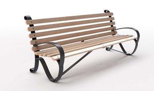 3D slatted wood park bench model