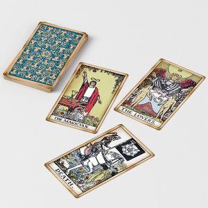 3D model old tarot cards -