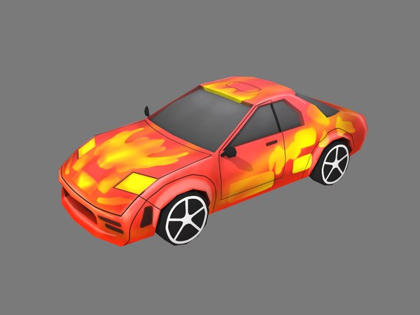 cartoon red car 3D model