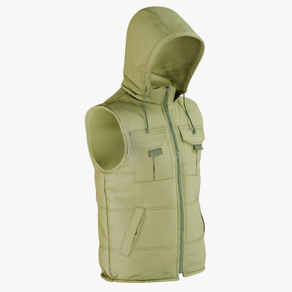 realistic vest green hood 3D model