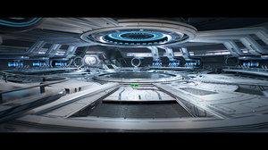 3D sci-fi hangar interior games