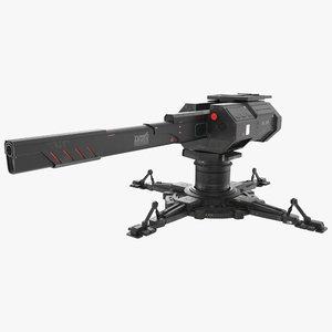 sci fi turret pbr 3D model