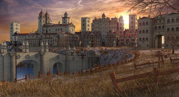 medieval town fantasy 3D