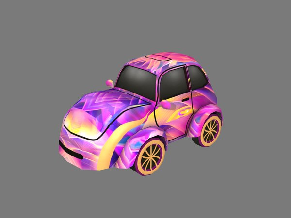 cartoon purple car 3D model
