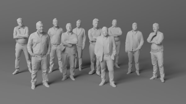3D 10 people crowds model