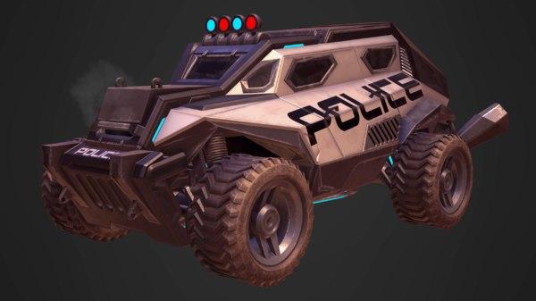 sci-fi armored police car 3D model