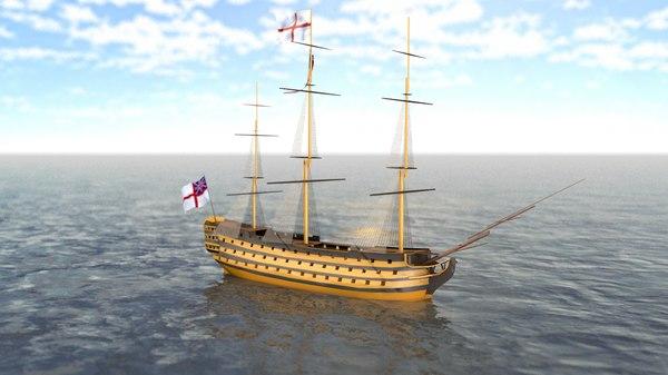 3D hms victory flagship model