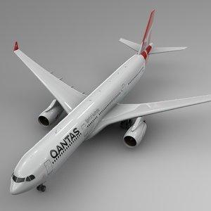 airbus a330-300 qantas l344 3D model