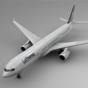3D airbus a330-300 lufthansa l343