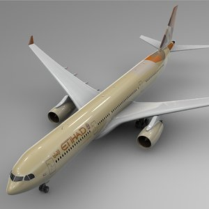 3D airbus a330-300 etihad airways