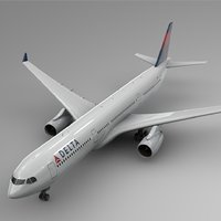3D airbus a330-300 delta airlines model