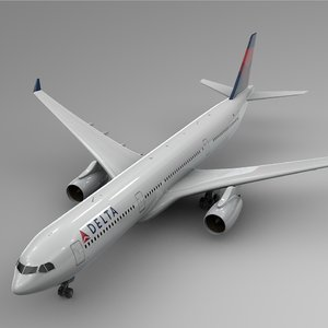 3D airbus a330-300 delta airlines model