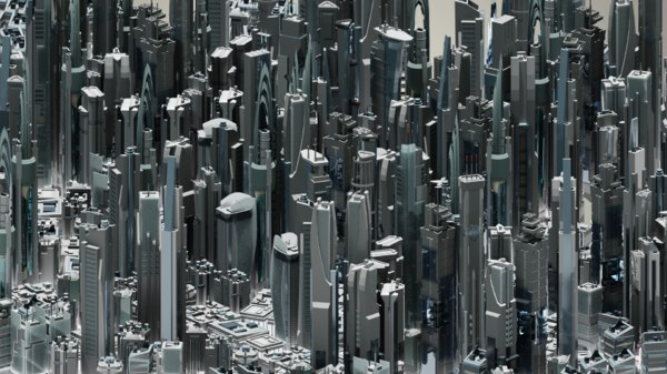 3D model futuristic 35 buildings