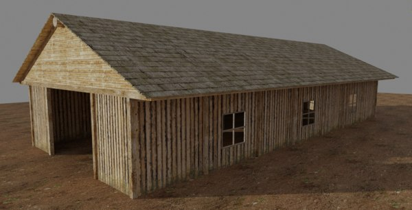 3D model house barn building
