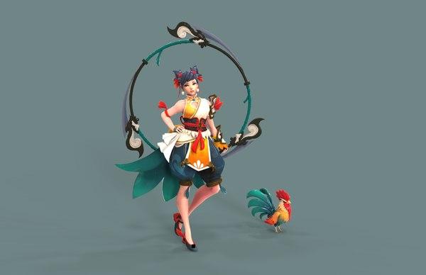 3D model sunrise rooster monk