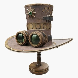 steampunk hat wooden stand 3D model