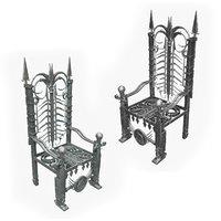 metal throne materials 3D model