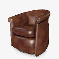 leather barrel tub swivel chair model