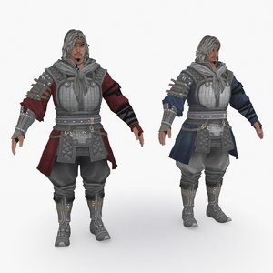 3D medieval china character 011 model