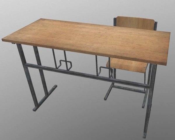 school desk chair 3D