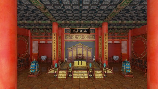 3D model chinese palace interior