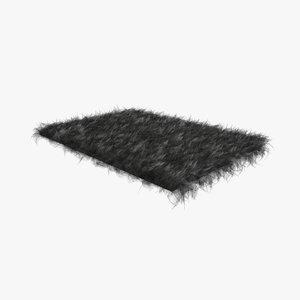 3D charcoal fur sheepskin carpet rug model
