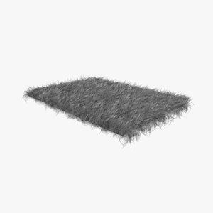 grey fur sheepskin carpet rug 3D model