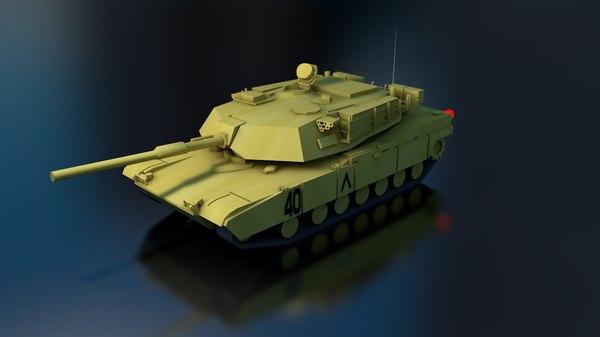 m1a2 abrams military tank 3D