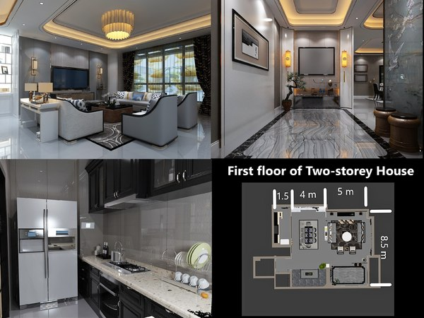 3D interior ground floor house