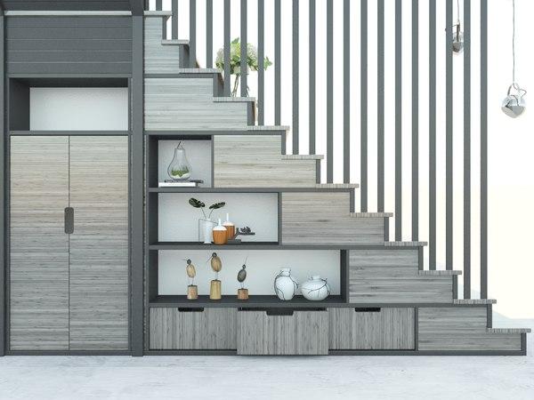 storage closet stairs interior model